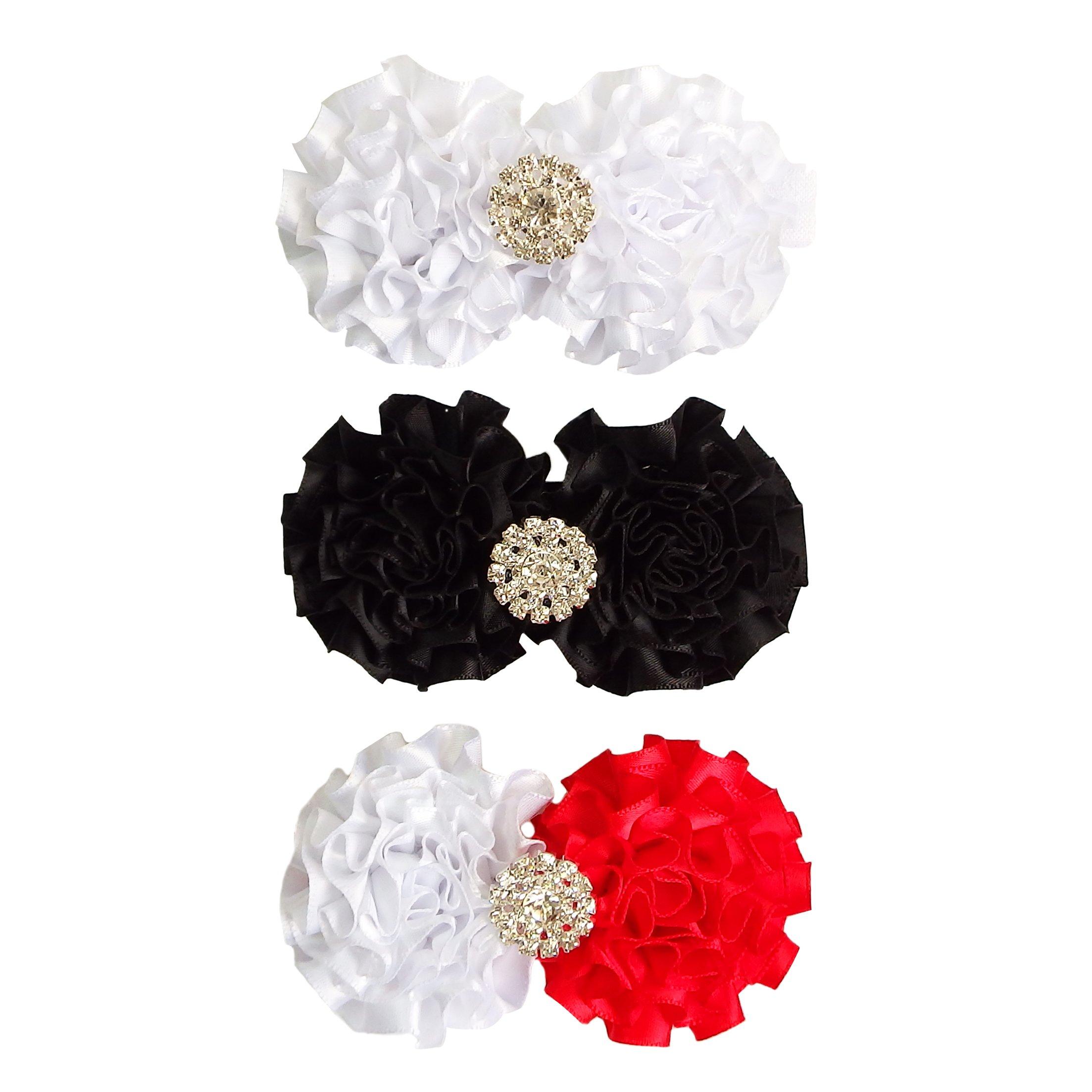 Baby Girls Headband Flower Bow Rhinestone Hair Bands Accessories 3 PCS Red White Black