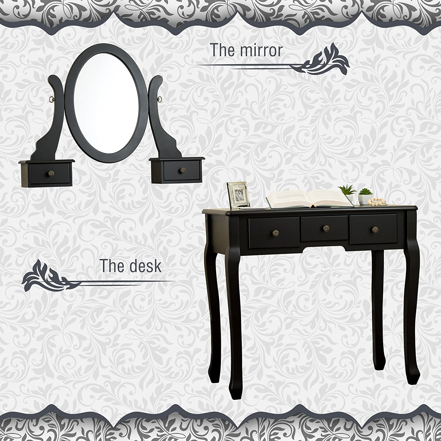 Fineboard FB-VT07-BKC Mirror Dressing Table Set Vanity Table with Stool Black