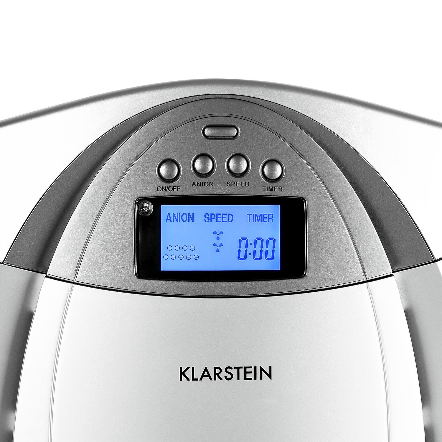 Klarstein Grenoble 4-in-1 Air Purifier /• Ioniser /• Filter /• Remote Control /• 3 Speed /• 12-Hour Timer /• Replaceable Filter /• up to 40m/²roooms /• Low Noise /• LCD Display /• Silver