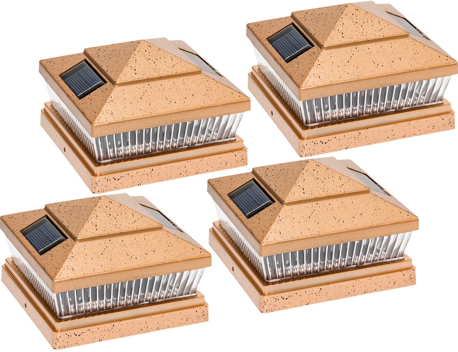 Garden Sun Light Solar 5 LED Post Cap Light for 6'' x 6'' PVC Posts w/ 5'' x 5'' Adapter 4-Pack by Garden Sun Light