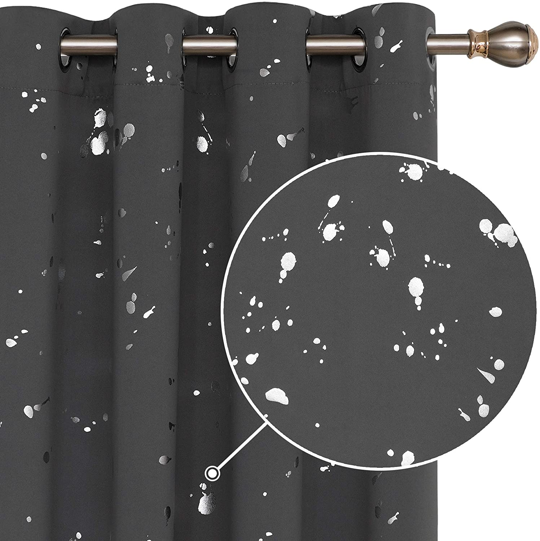 Deconovo Grey Blackout Dedication Curtains Ranking TOP11 84 Silver Length Print Inch Dots