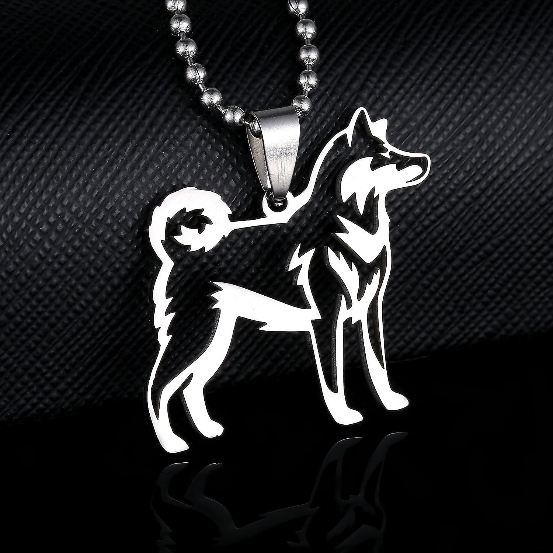 Stainless Steel Alaskan Malamute Siberian Husky Outline Pet Dog Tag