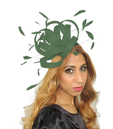 757c6b71899ae Pretty Fireball Army Green Feathers Ascot Derby Fascinator Hat - with  Headband  Amazon.co.uk  Clothing