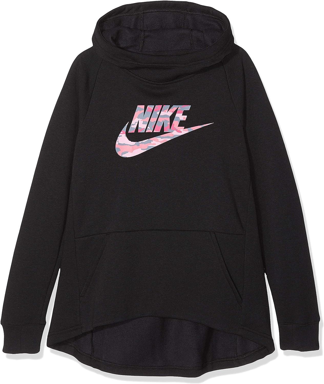 Nike Girl's Sportswear Premium Essentials Camo Pullover (Black, Large): Clothing