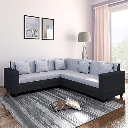 Bharat Lifestyle Cosmo Plus Fabric L Shape Acacia Wood Sofa - 3 Seater + 2  Seater + 1 Corner Sofa (Black Grey)