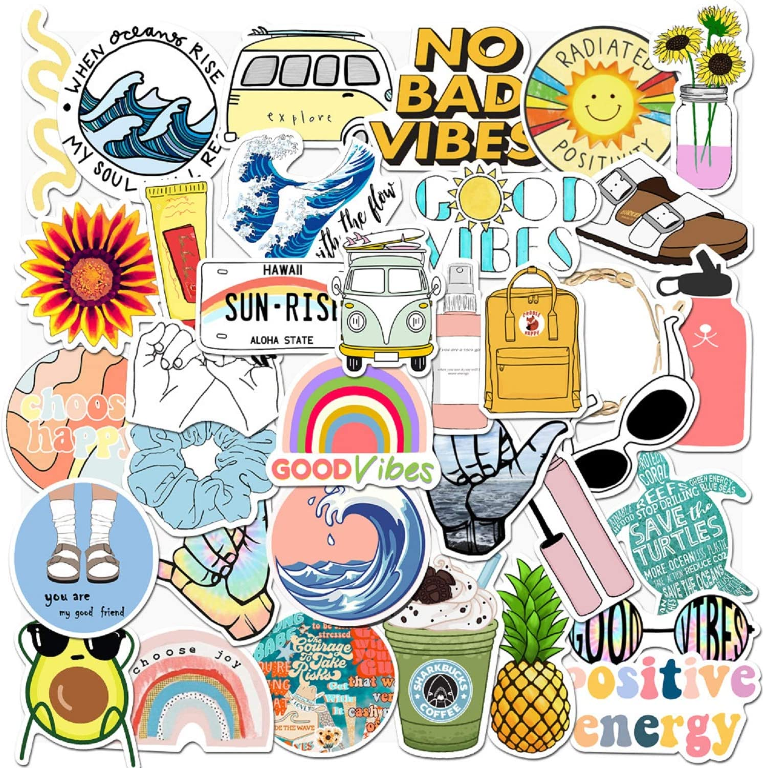 VSCO Vinyl Cute Stickers, 35 PCS Waterproof Aesthetic Stickers for Laptop, Computer, MacBook, iPad, Cellphone, Hydro Flask, Water Bottle, Luggage, Great for Kids, Teens, Girls, Women