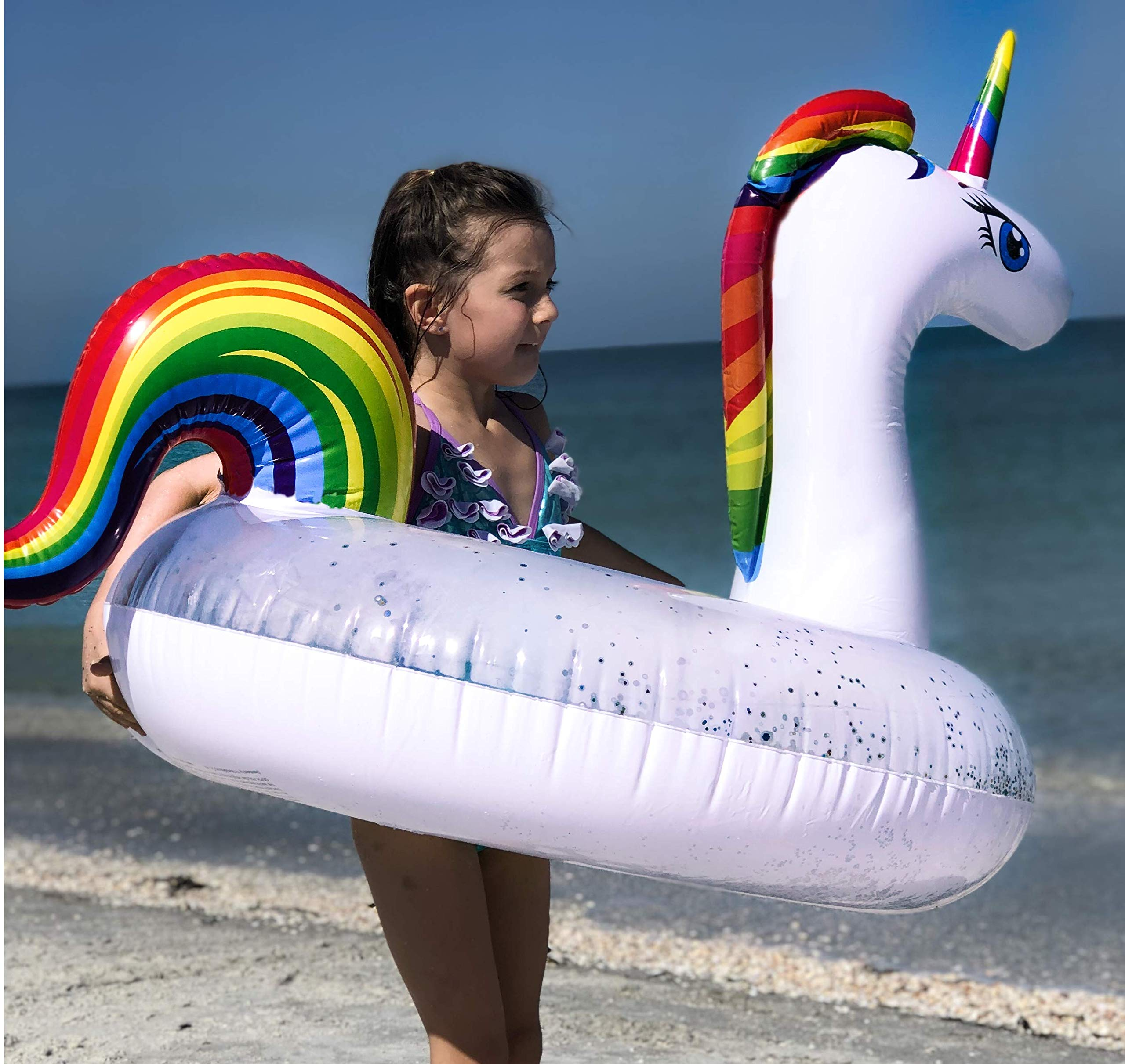 Unicorn Pool Floats for Kids - Glitter Filled - Ride ON Inflatable Unicorn Float for Pool Lake River RAFT - Giant… 7