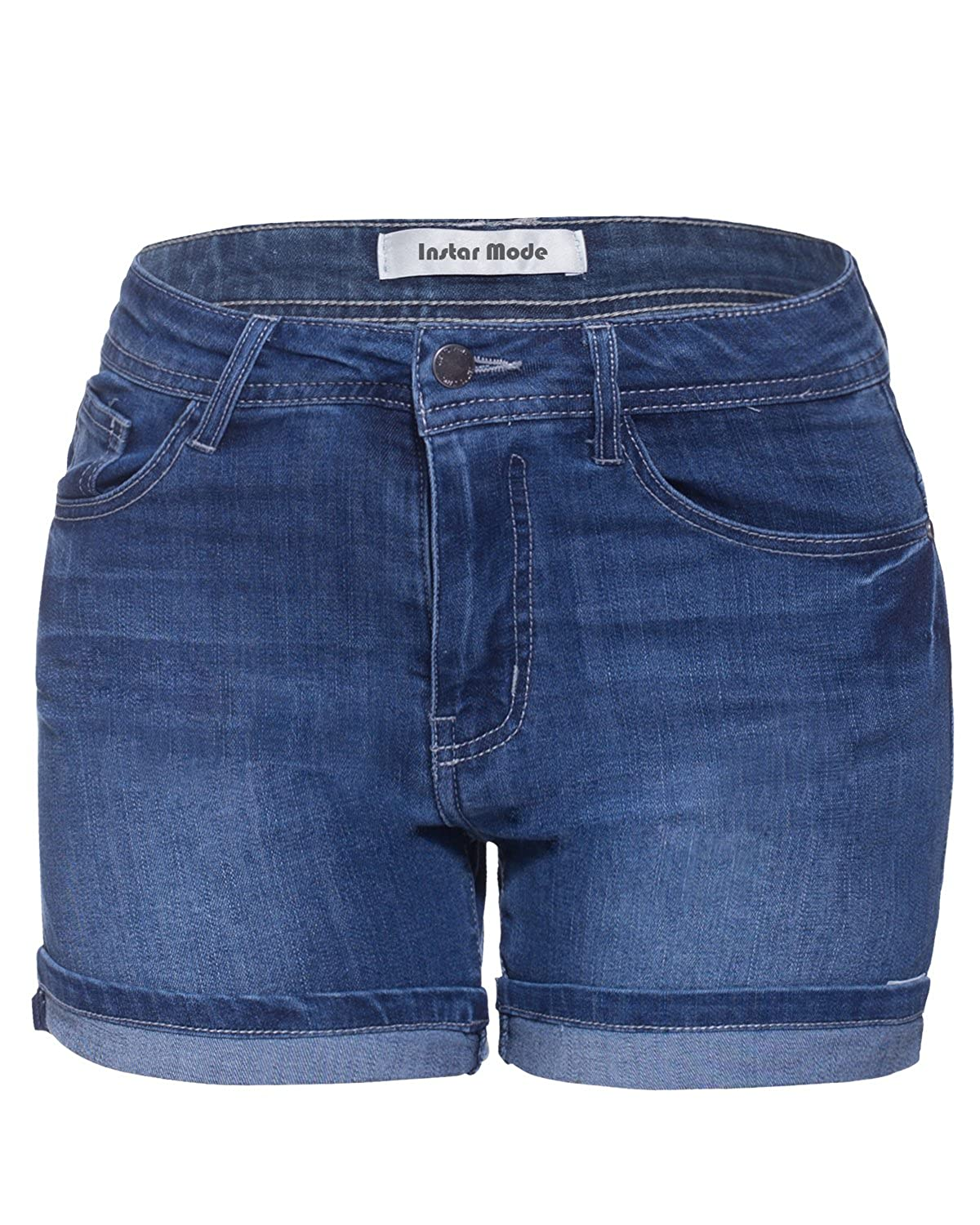 Js01411 Dark Denim Instar Mode Womens Mid Waist Casual Denim Shorts