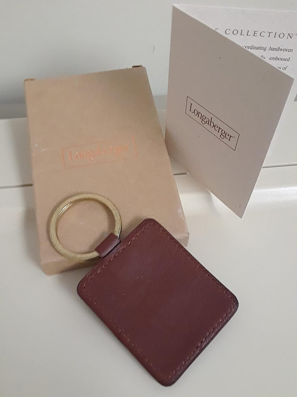 Longaberger Leather Key Chain Ring Country Estates Collection Brown New
