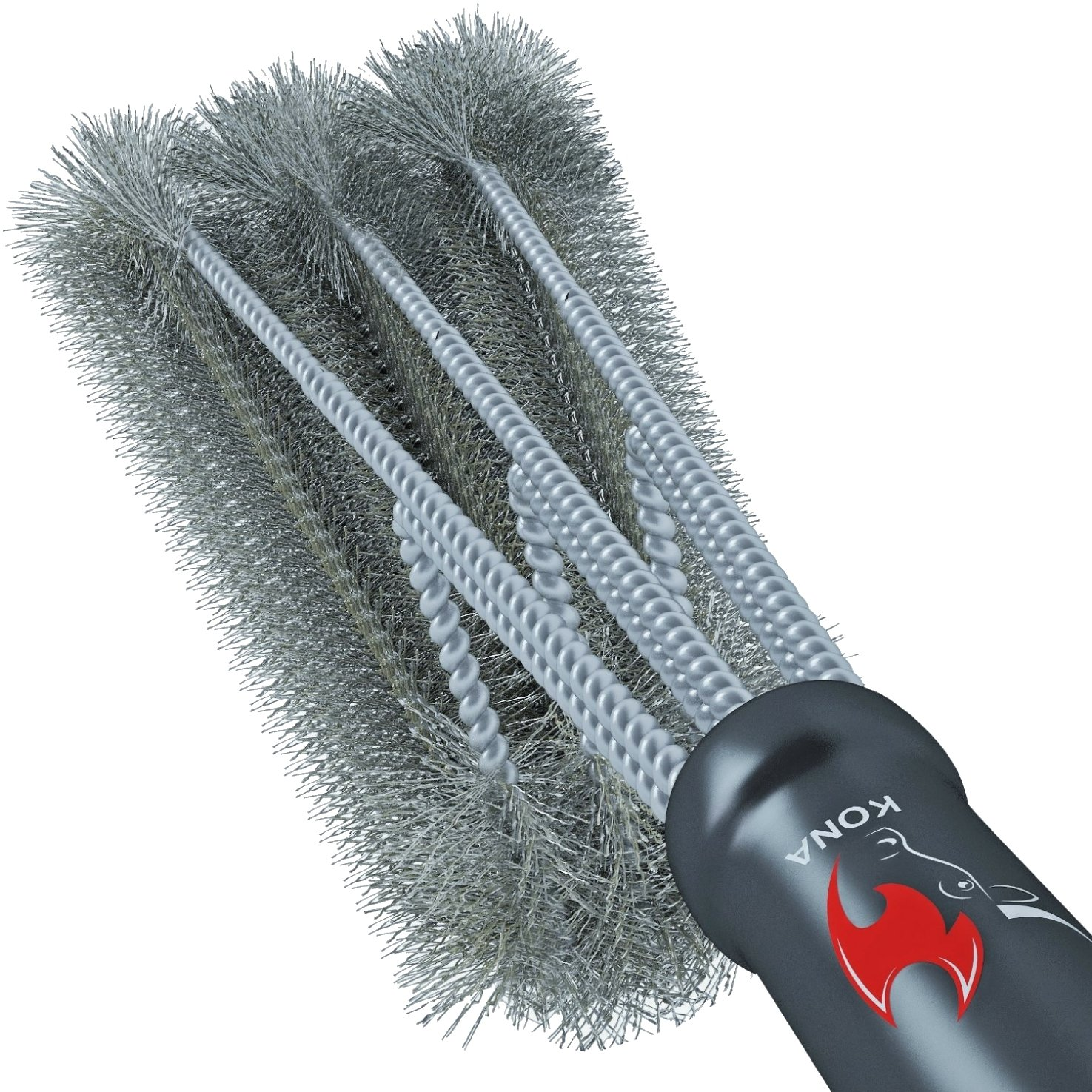 360° CLEAN GRILL BRUSH By Kona(TM) - 18 Best BBQ Grill Brush - 3 Stainless Steel Brushes In 1 Provides Effortless Cleaning - FREE 5 YEAR REPLACEMENT - Great BBQ Accessories Gift - Stiff Light Weight Design - Perfect For Weber, Char-Broil, Porcelain & I