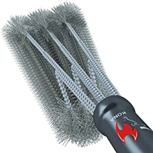 "Kona 360° Clean Grill Brush, 18"" Best BBQ Grill Brush - Stainless Steel 3-in-1 Grill Cleaner Provides Effortless Cleaning, Great Grill Accessories Gift"