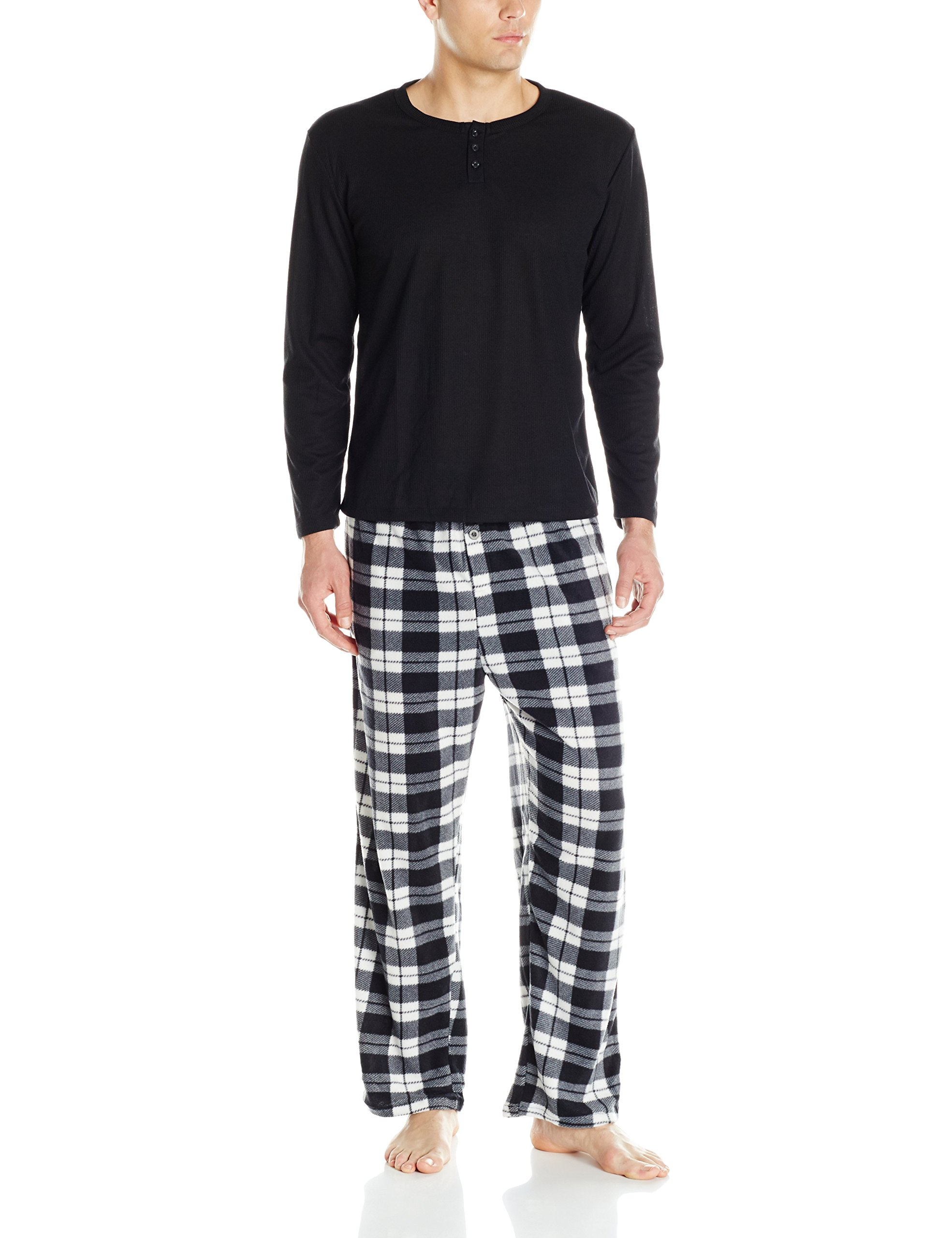 Essentials by Seven Apparel Men's Long Sleeve Pajama Set with Fleece Bottom, Grey, XX-Large by Essentials by Seven Apparel