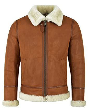 Mens B3 Shearling Sheepskin Jacket Tan Whisky Beige Fur ...
