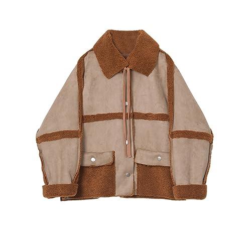 Los corderos de lana chaqueta de invierno costura femenina atadura suelto cubra la piel