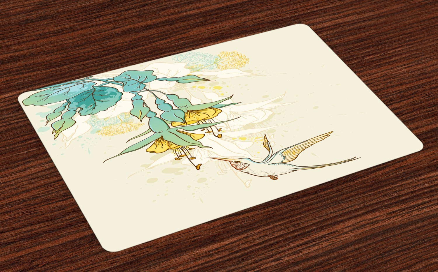 Ambesonne Hummingbird Place Mats Set of 4, Hummingbird and Tropical Flowers Summertime Exotic Plant Nature Art, Washable Fabric Placemats for Dining Room Kitchen Table Decor, Teal Yellow