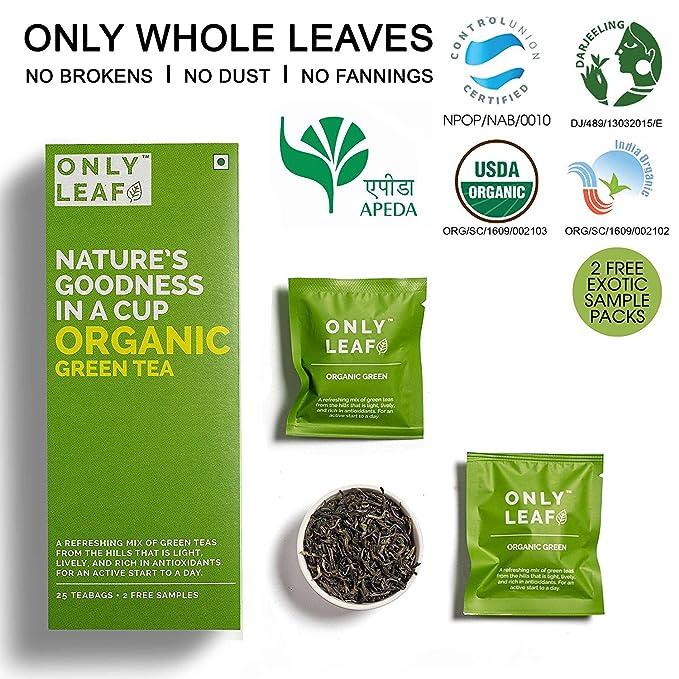 1f7ef11b20d Only Leaf Organic Green Tea, 27 Tea Bags (25 Tea Bags + 2 Free Exotic  Samples): Amazon.in: Grocery & Gourmet Foods