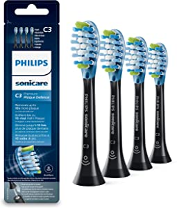 Philips Sonicare Premium Plaque Defence BrushSync Enabled Replacement brush Heads, 4pk Black - HX9044/33