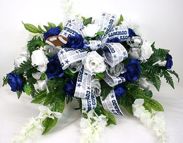 Amazon dallas cowboys cemetery graveside saddle arrangement w dallas cowboys cemetery graveside saddle arrangement w silver and blue roses with white wisteria mightylinksfo