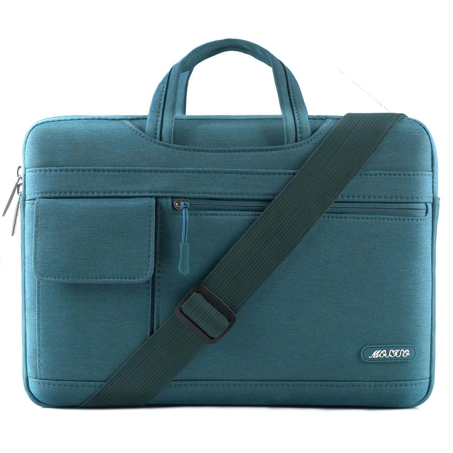 MOSISO Laptop Shoulder Bag Compatible 15-15.6 Inch New MacBook Pro with Touch Bar A1990 & A1707 2018 2017 2016, MacBook Pro, Also Fit 14 Inch Ultrabook, Polyester Flapover Briefcase Sleeve, Deep Teal