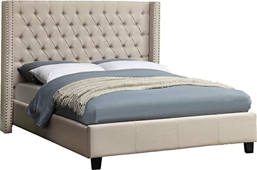 Meridian Furniture Ashton Linen Upholstered Button Tufted Wingback Bed