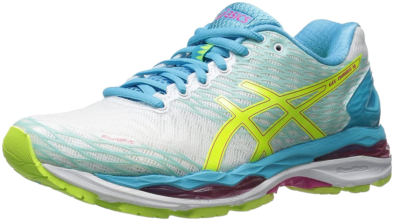 ASICS Women's Gel-Nimbus 18 Running Shoe B01D19HC2K 5 B(M) US White/Safety Yellow/Aquarium
