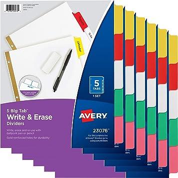 Avery 5-Tab Plastic Mini Binder Dividers 1 Set Write /& Erase Multicolor Tabs