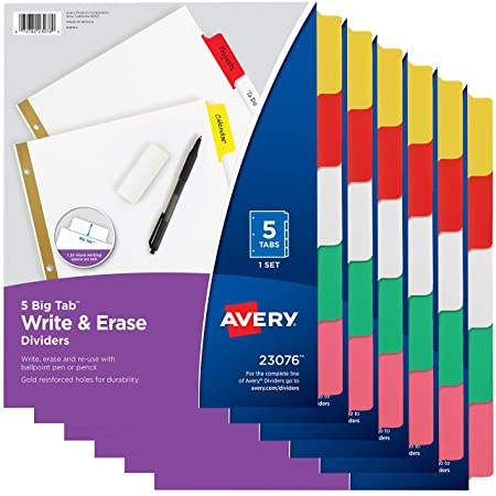 Avery 5 Tab Binder Dividers, Write & Erase Multicolor Big Tabs, 6 Sets (23076) by Avery