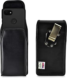 product image for Turtleback Belt Case Designed for Google Pixel 3 XL and Pixel 3A XL (2019) Vertical Holster Black Leather Pouch with Heavy Duty Rotating Belt Clip, Made in USA