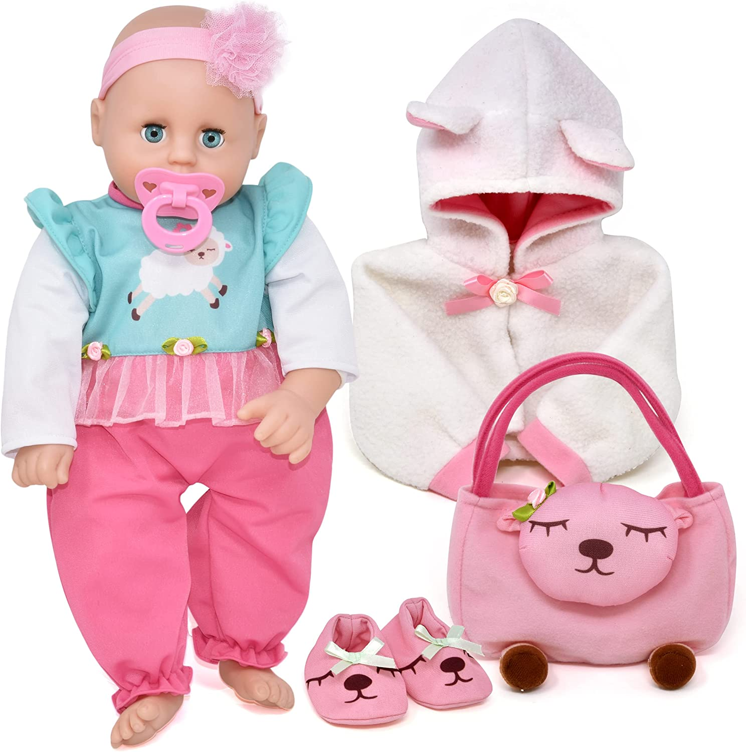 Baby Doll with Accessories Life Size Soft Body Baby Doll Set with Pacifier Diaper Bag Clothes Eyes Open Close 18 Inch Lifelike Sleeping Doll for Toddlers Kids