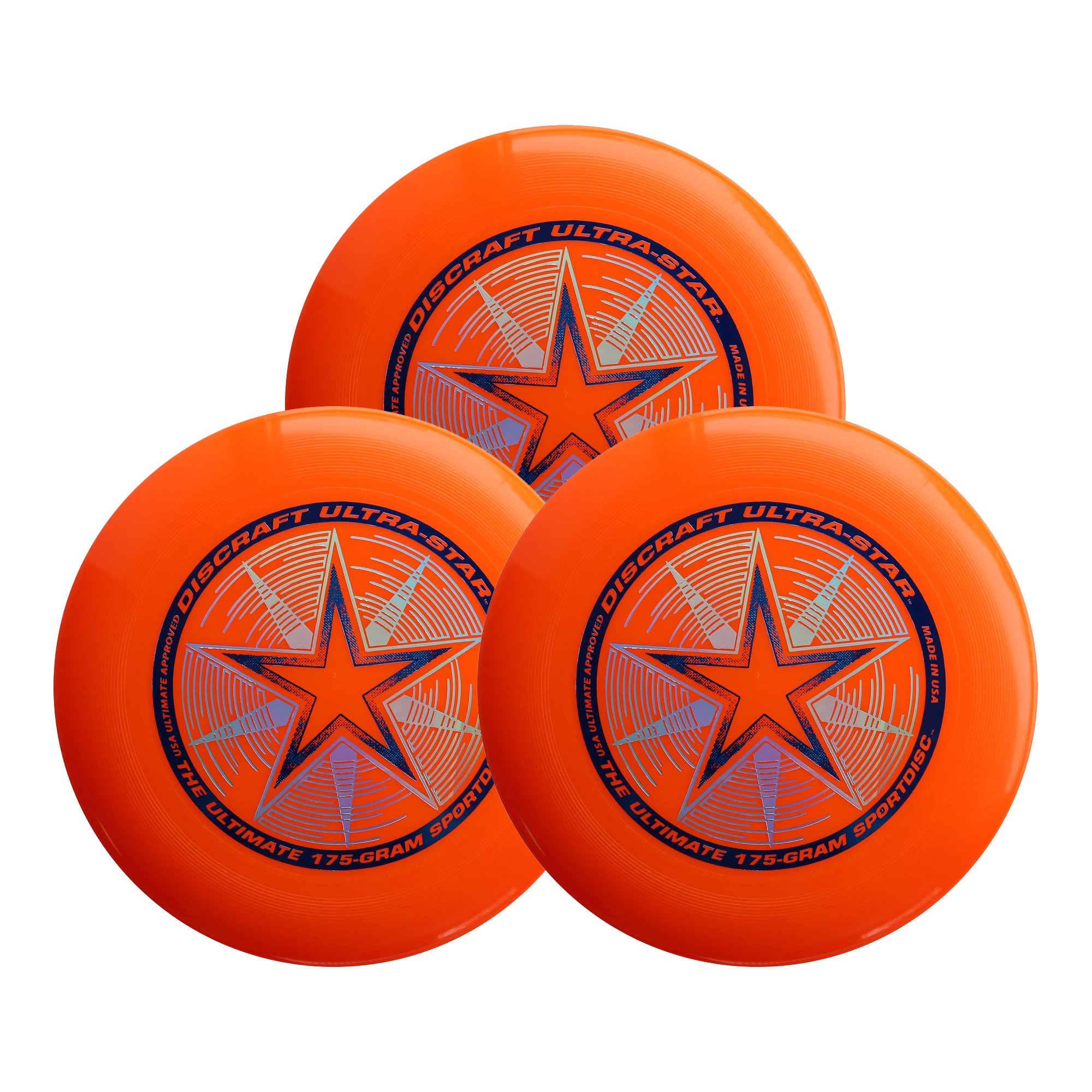 Discraft Ultra-Star 175g Ultimate Sportdisc Orange (3 Pack) by Discraft