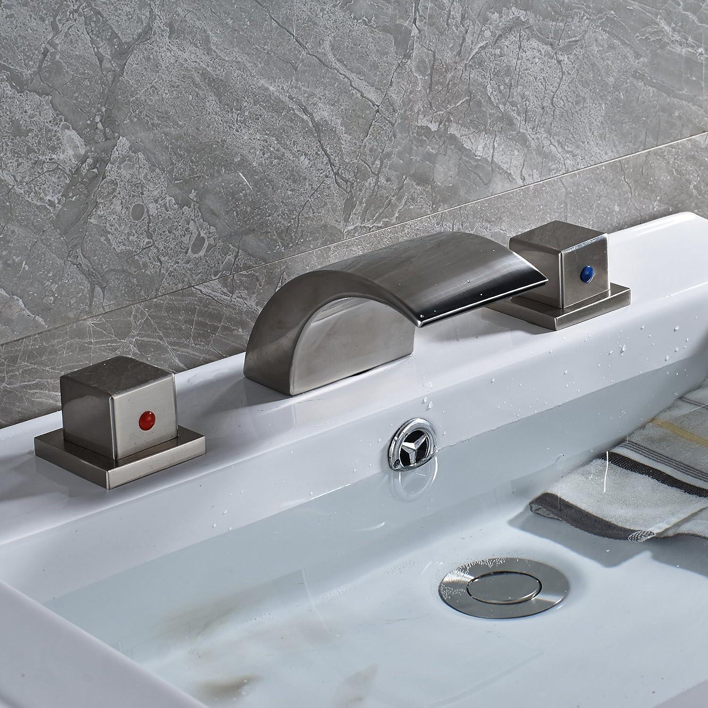 Rozin Widespread 3 Holes Waterfall Bathroom Basin Faucet Double ...