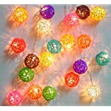 Mixed Colour Rattan Ball Fairy Light String Lights 20 Lanterns