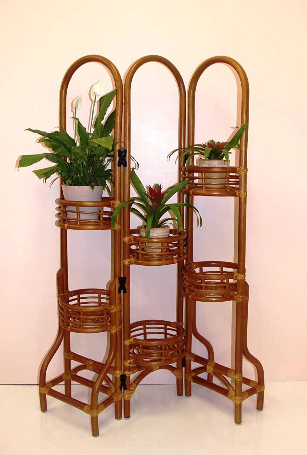 6 Tier Natural Rattan Wicker Plant Flower Stand Colonial