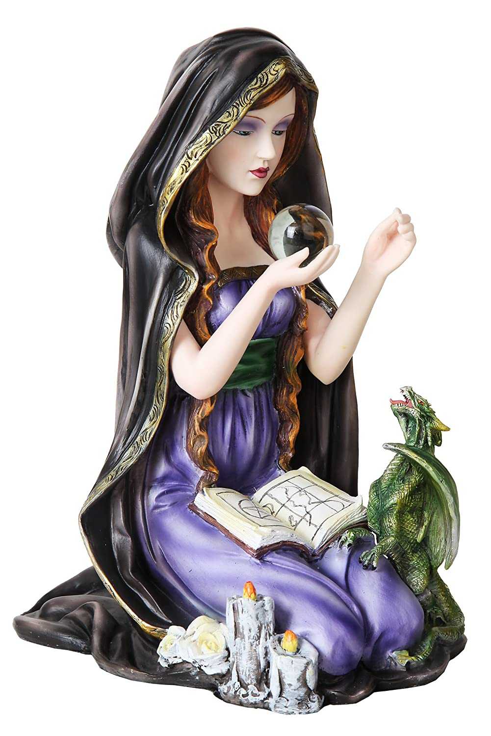 9.25 Inch Resin Witch Kneeling with Dragonlings and Book Figurine