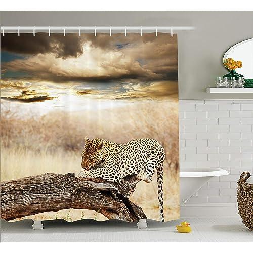 Amazoncom Ambesonne Safari Decor Curtains Siberian