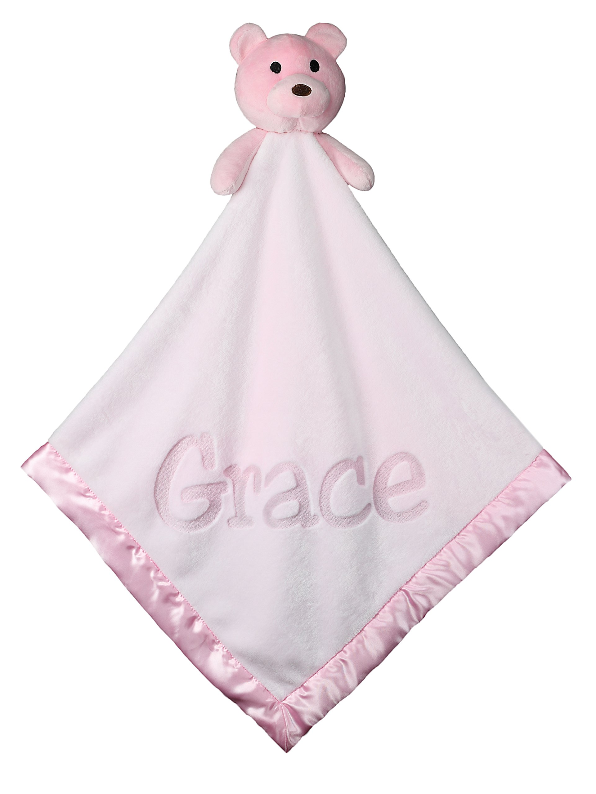 Large Ultra Plush Personalized Teddy Bear Baby Blanket Gifts, 40x40 Inch (Pink), Boy or Girl by Custom Catch