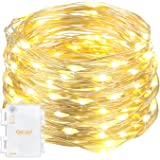 Oak Leaf 60-LED Starry Fairy String Lights Silver Wire,Battery Operated,9.8ft,Warm White