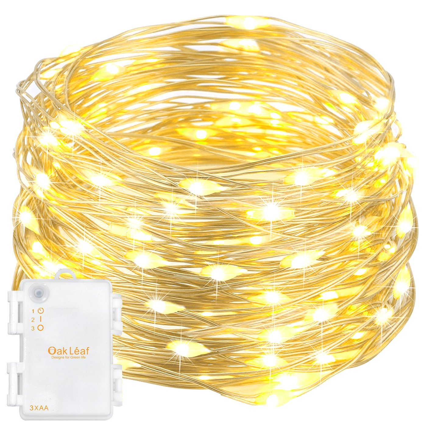 Oak Leaf 60 Led Starry Fairy String Lights Silver Wire Battery Wiring To Leisure Operated 98ft Warm White
