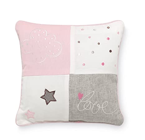 Pirulos 79011614 - Cojín bordado 30 x 30 diseño globo, color blanco y rosa