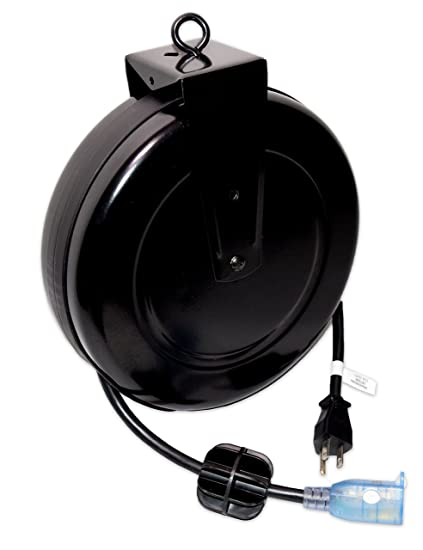 Retractable Extension Cord >> 25 Ft Locking And Lighted Retractable Extension Cord Reel 15 Amp
