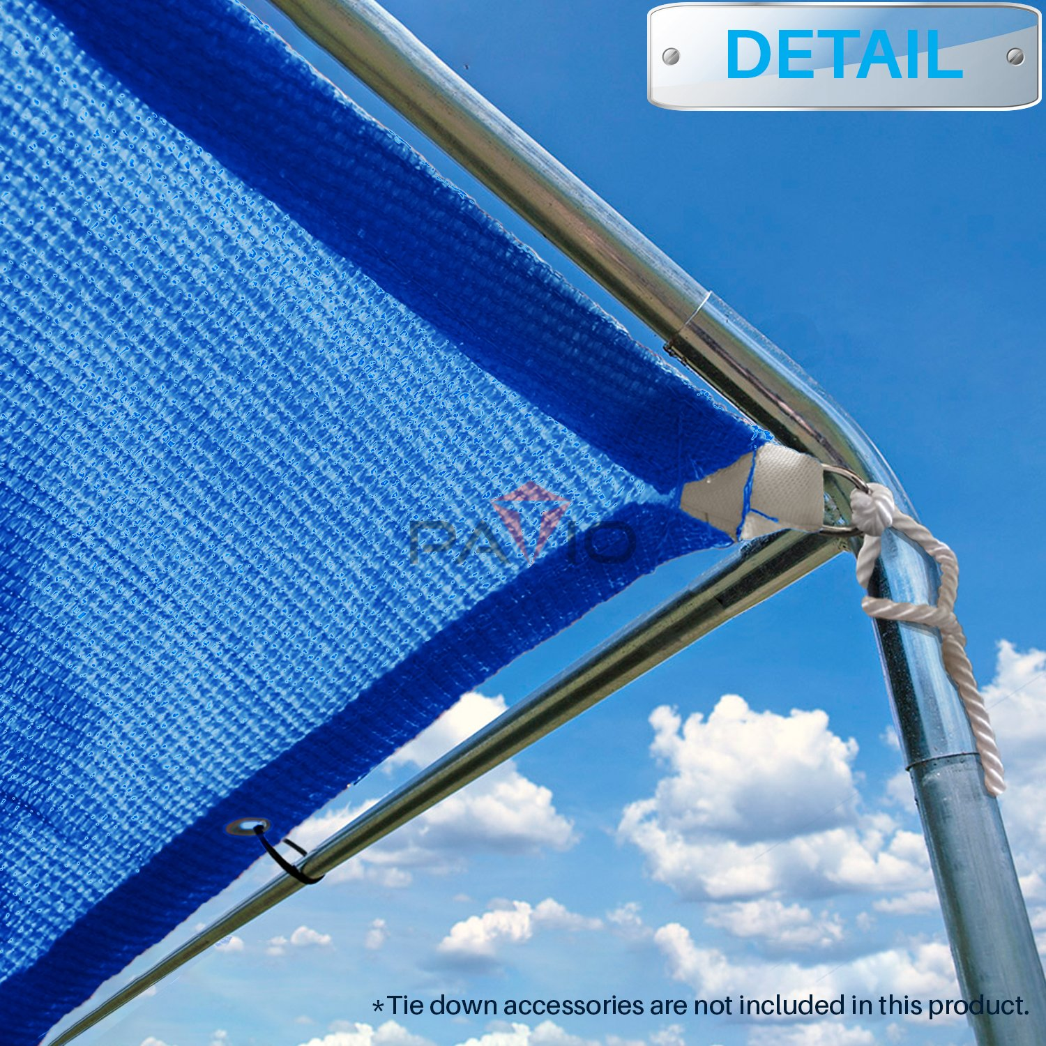 Patio Paradise 6 x 6 Straight Edge Sun Shade Sail, Blue Rectangle Outdoor Shade Cloth Pergola Cover UV Block Fabric – Custom 3 Year Warrenty