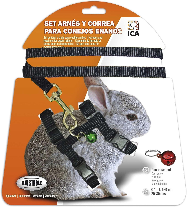 ICA DA1023 Set de Arnés y Correa para Conejos Enanos, Negro