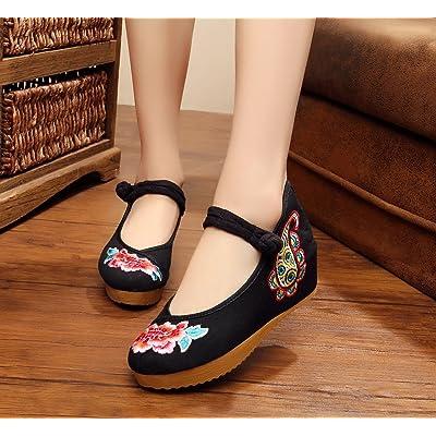 &QQ Chaussures brodées, lin, semelle tendineuse, style ethnique, chaussures féminines accrues, mode, confortable, décontracté