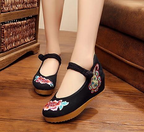 ZLL scarpe ricamate, biancheria, suola del tendine, stile etnico, aumento scarpe femminili, moda, comodo, casual , black , 38