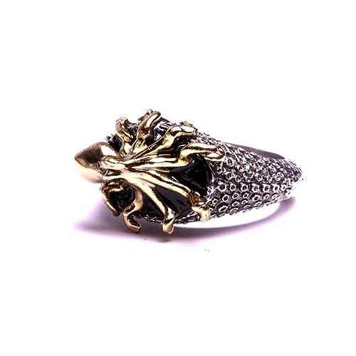 3fc8a2217c5 Bague chevalière homme et femmes pieuvre poulpe sur émail noir bijou fait  main atelier artisanal By