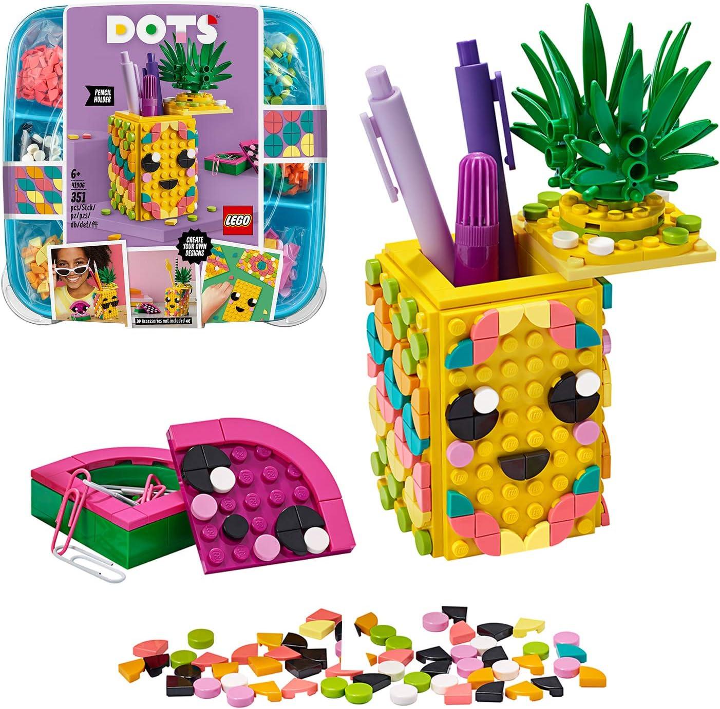 LEGO DOTS - Portalápices Piña, estuche creativo de juguete a partir de 6 años para construir y diseñar portalápices con forma de fruta, incluye piezas decorativas de colores (41906): Amazon.es: Juguetes y juegos