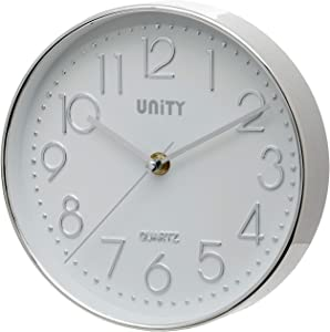 Unity Cambourne Non-Ticking Sweeping Wall Clock in Chrome Silver 20cm / 8-Inch