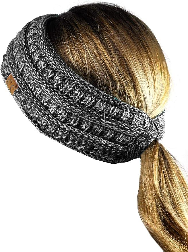 Ear warmer Pony tail Beanie Brioche Knit Head band Double sided Womens head band Hair band stone Chunky blue Headband Brioche stitch.