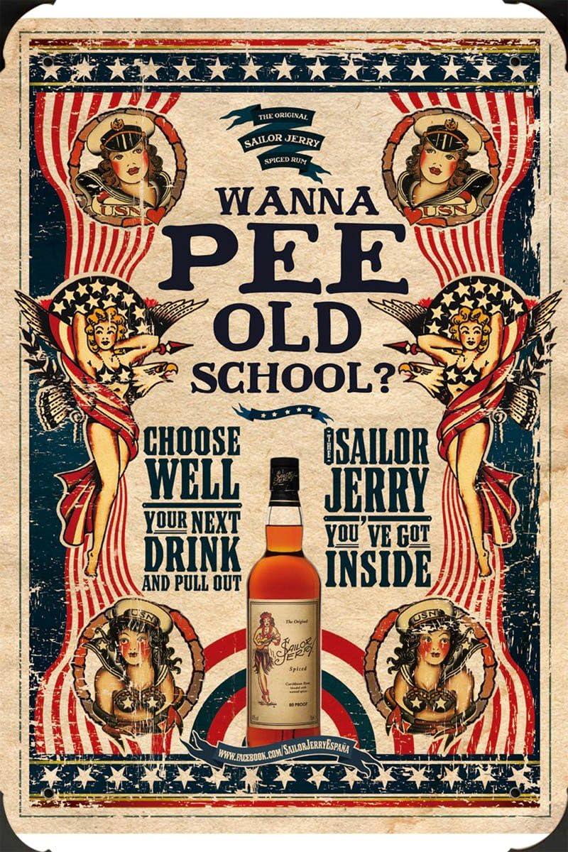 Rum: Wanna pee old school?, 1 metal poster cartel hojalata ...