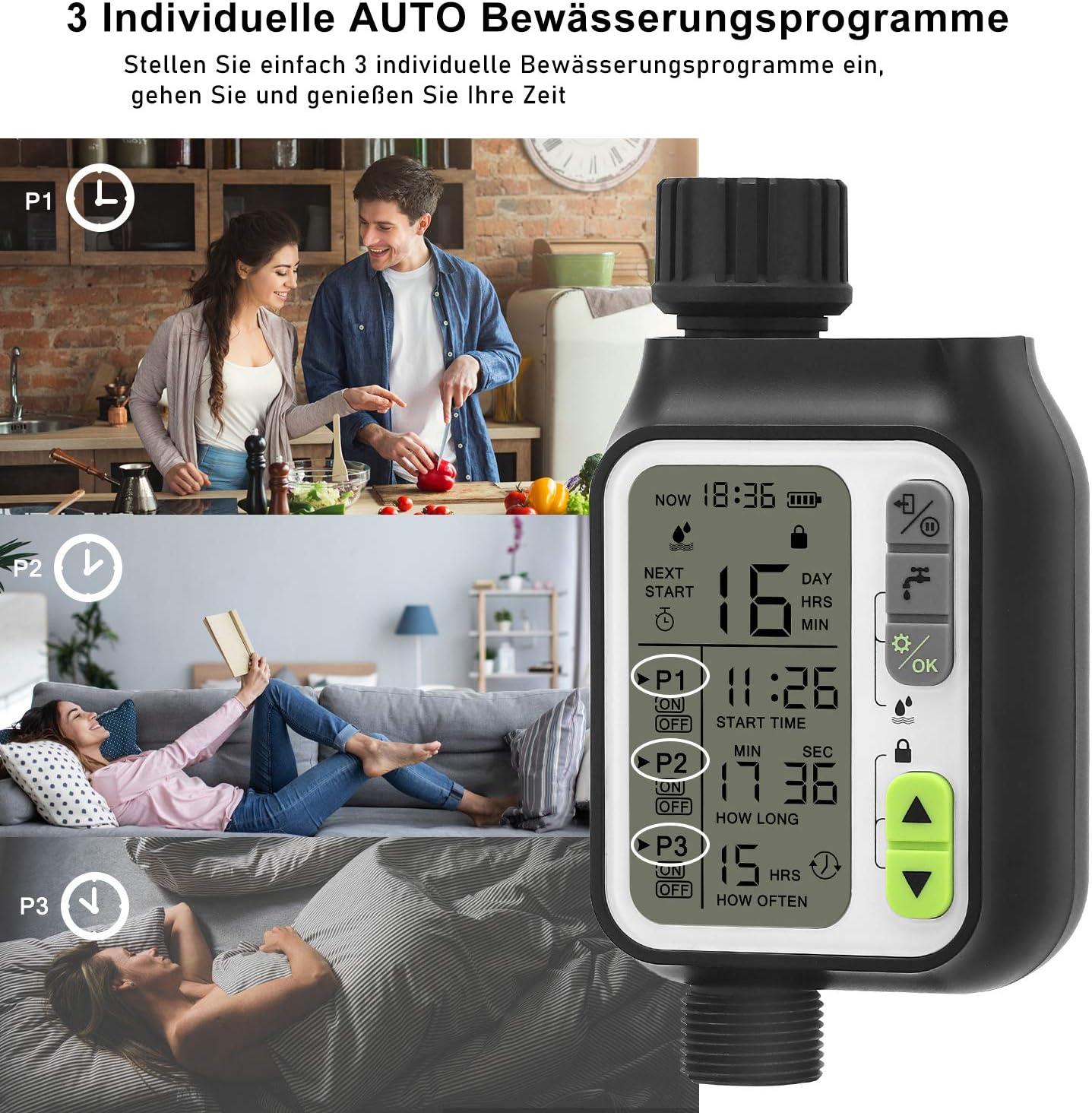 3 programas de riego Tunume Temporizador de riego temporizador de aspersi/ón sensor de lluvia modo de seguridad infantil pantalla LCD de 3 pulgadas